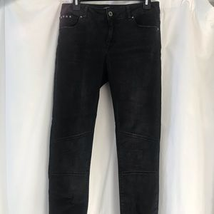 Zara Washed Black Skinny Moto Jeans Sz 6